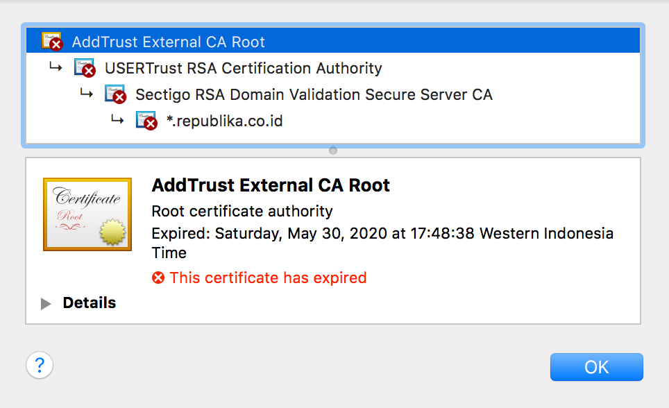 addtrust external ca root this certificate has expired